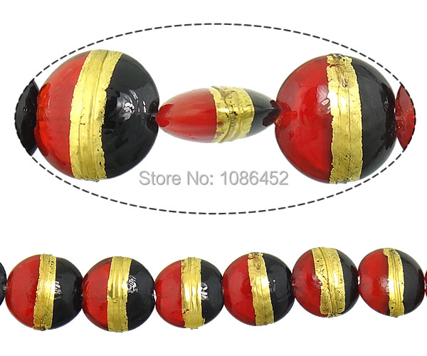 Free shipping!!!Gold Foil Lampwork Beads,Hot Style, Flat Round, 20x20x10mm, Hole:Approx 2mm, Length:Approx 11 Inch