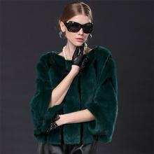 2016 New Arrival Fashion Women Winter Clothing Dark Green Mink Fur Coat with Cheap Price