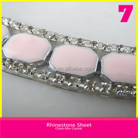 Iron on Rhinestone Chain 10mm Square Jelly Stone mix Cup Chain