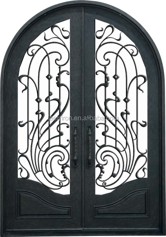 Round Top Wrought Iron Single Entry Door For Residential