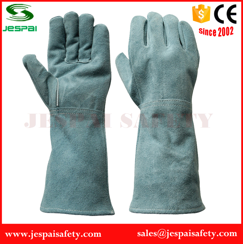 15 inches Factory Sale Cow split leather industrial glove with Lining