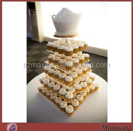 Clear durable plexiglass 4 tiers acrylic cupcake display stand