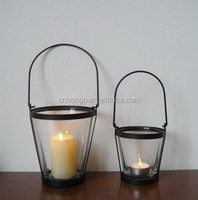 simple lantern,metal wire candle holder ,glass cup candle holder