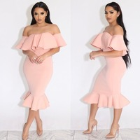 2017 summer in Europe and the new high-end women's clothing Chest fold pure color PROM dress