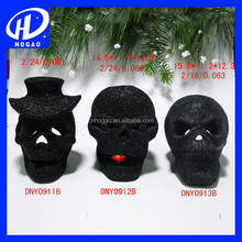 Wholesale Black Ceramic Skull Head Candlestick Halloween Craft