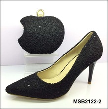 MSB2122-2 Guangzhou wholesale low heels with handbag lace wedding bridal shoes matching bag in black