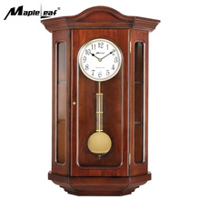 Large size Linden Home Goods Old Style Hourly Chime Wooden Pendulum Quartz Rhythm Wall Clock