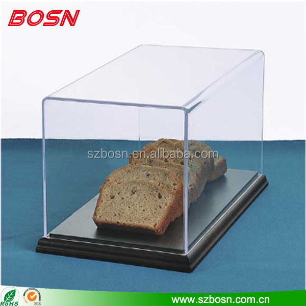 Wholesale clear acrylic bread display case Perspex bakery display cabinet with wooden base
