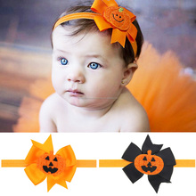 Promotional elasticity infant pumpkin Halloween <strong>headband</strong>