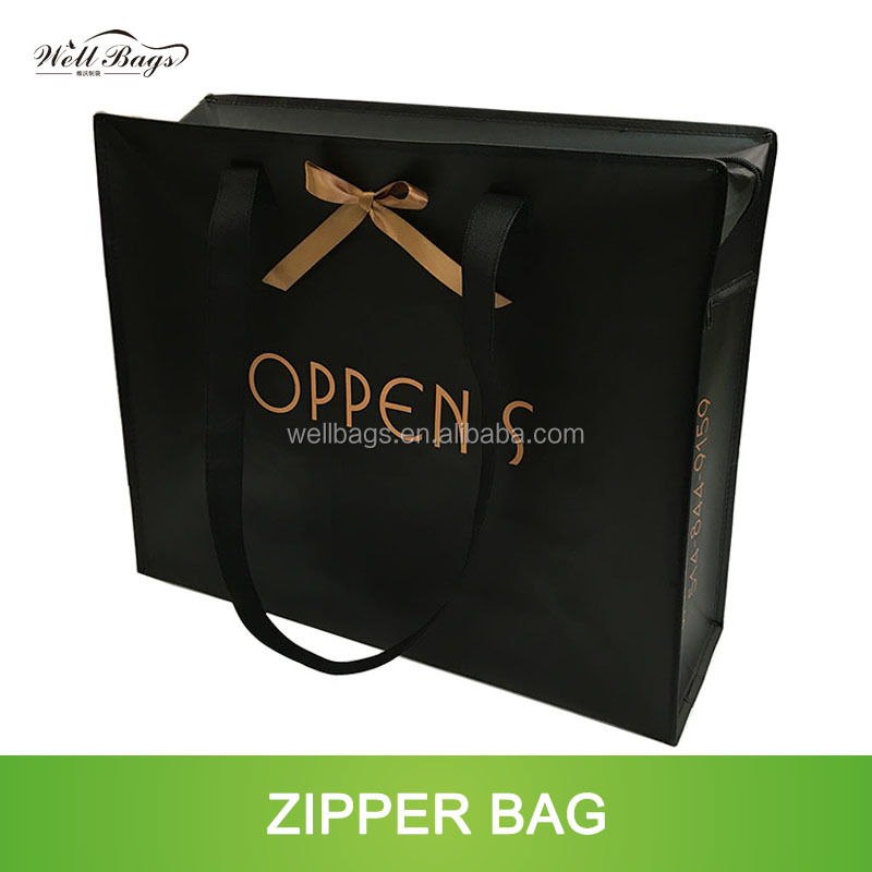 customized PP non woven laminated reusable zipper shopping tote bag with bow tie alibaba trade assurance