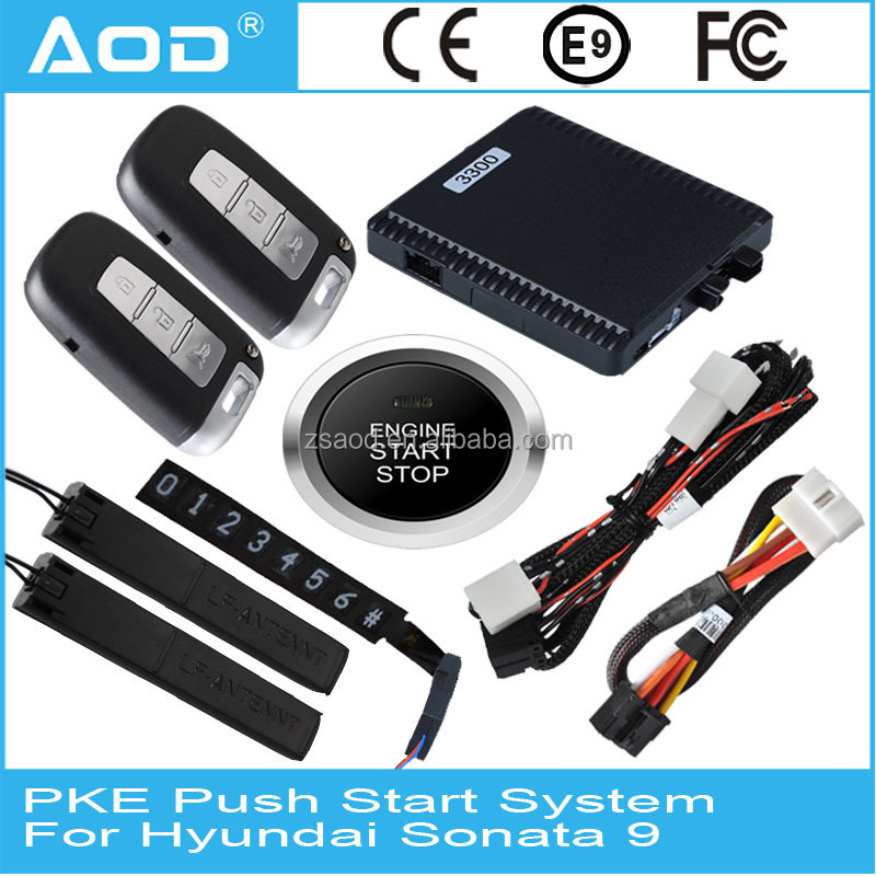CAN BUS car alarm push button start driving lock smart keyless remote start for Hyundai Sonata 9