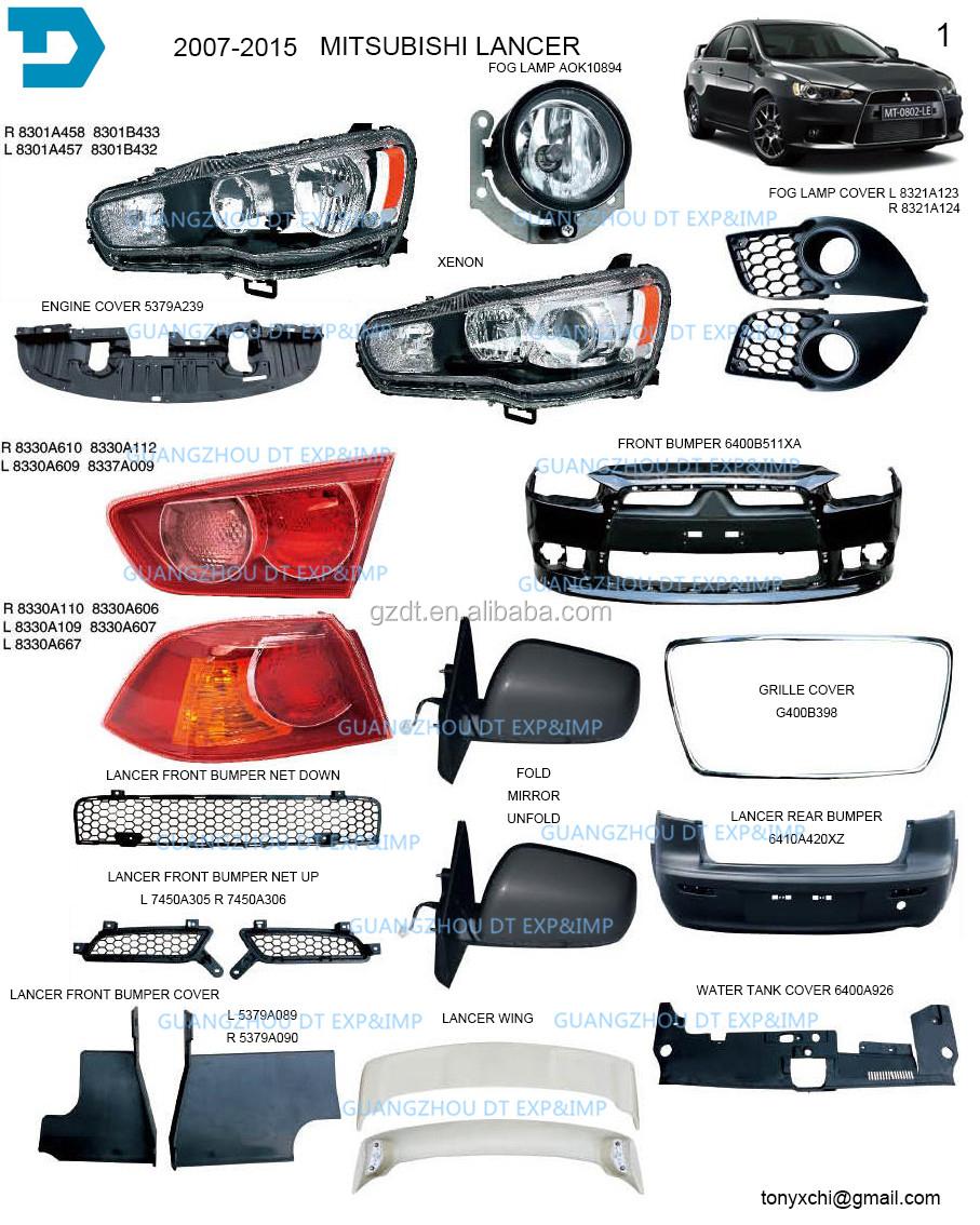 2007 2015 Mitsubishi Lancer Headlight Taillamp Bumper Fog