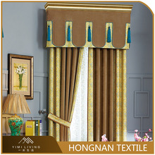 Luxury living room elegant yellow jacquard fancy curtain valances