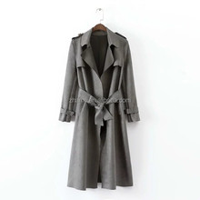 Wholesale fashion dust jacket ladies women long suede leather coat design model