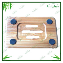 hot sale bamboo wooden soap dish box holder with anti-slip silicone