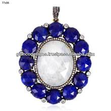 Faceted Lapis Lazuli Diamond Rainbow Moonstone Designer Vintage Look Princess Pendant Gold Handmade Jewelry