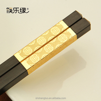 Chinese styles and decorative gold stripe bulk alloy chopsticks