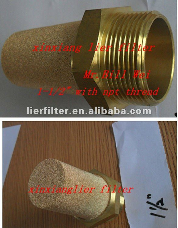 "Sintered Bronze Pneumatic Muffler Filter Element (B-Style 1-1/2"" NPT Thread)"