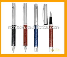 2012 Fancy metal leather metal ball pen for company item