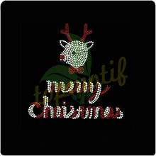 Rhinestone Designs Merry Christmas Iron On Motif Hot Fix Transfer Clothing Accessories