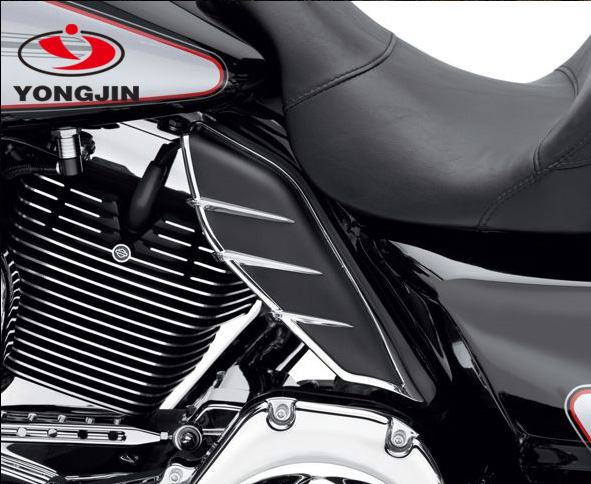 Factory in China made motorcycle mid frame air deflector with chrome trim for harley motorcycle