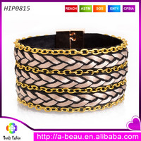 Magnetic clasp bracelets handmade braided cord chain adorn fashion style