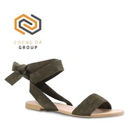 Customized Size fashion Sling Back Textile upper Suede finish solid hue lace up sandals