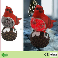 Polyresin cardinal red bird with solar for christmas decor