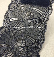 2017 hot sale fashion designs cheap flower black elastic band lace