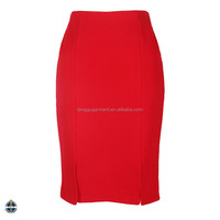 T1603 China Supplier Stock Ladies Red Straight Office Skirt Style