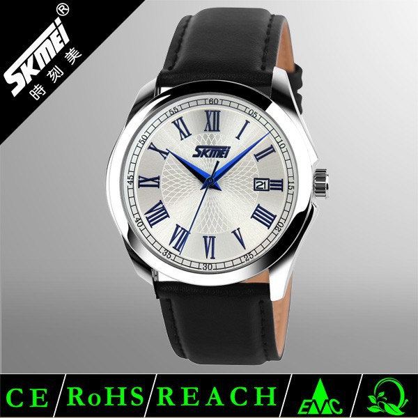 Alibaba Skmei Chinese High Quality 3 Hands Waterproof Wholesale Genuine Leather Strap Fancy Analog Quartz Wrist Watch