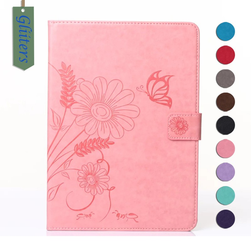 Gliiters butterfly flower debossed leather case for ipad mini case tablet covers