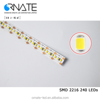 Hot Sale 19.2W 240leds/m Warm White SMD 2216 Flex Waterproof Led Light Strip Outdoor