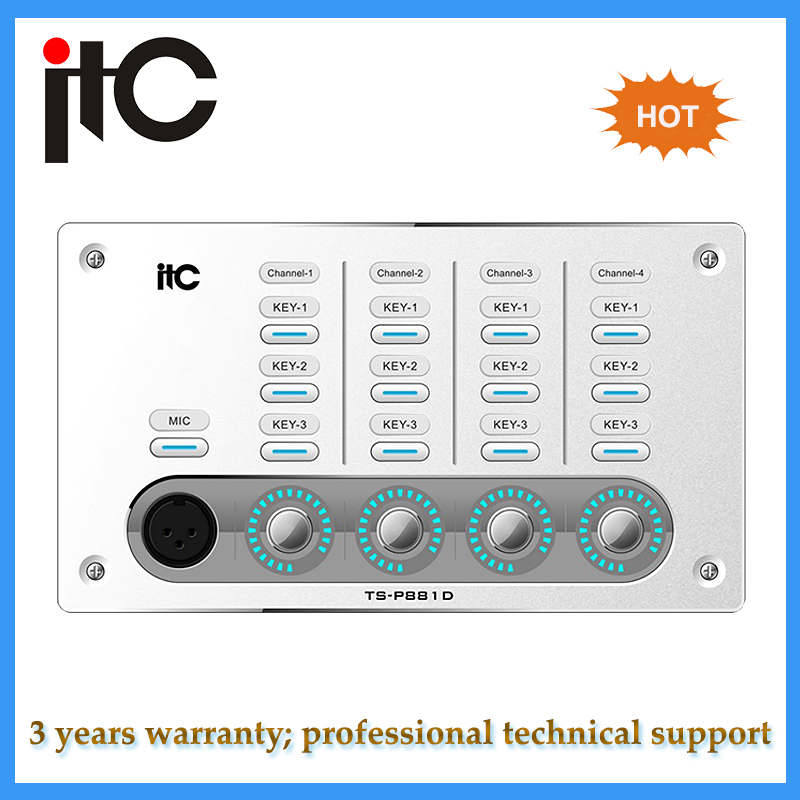 TCP / IP Network Control Protocol POE wall control panel for sound system audio processor