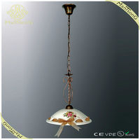 Antique brass ceramic pendant light hanging light fixture with flower painted