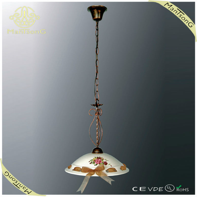 Classic Designs ceramic pendant light hanging light fixture with flower painted