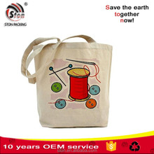 Reusable custom logo printed 100% natural canvas cotton shopping tote bags