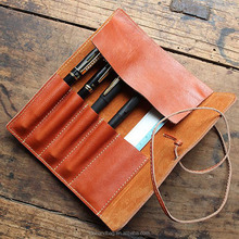 Simple Classic Vintage Genuine Leather Pencil Pen Mark Case Pouch Holder Stationery Kits Bag Pocket Pencil Case