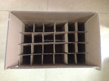 Wine carton boxes for bottles with corrugated inserts or dividers