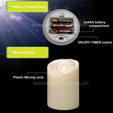 hot sale battery operation flameless moving wick fancy led candle