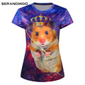 lovely 3d crown hamster printing women t shirt