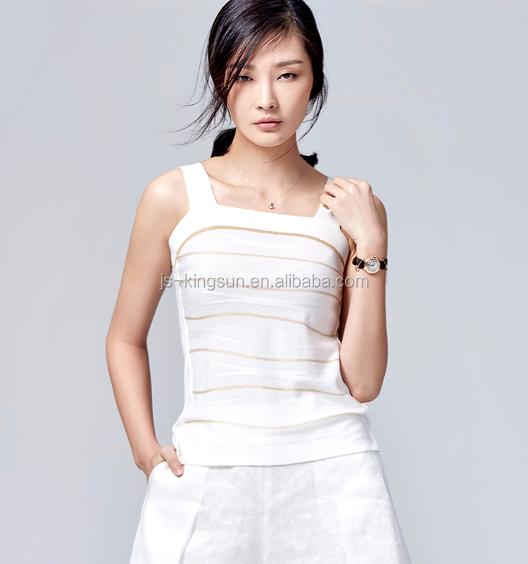 JS-11013 with strips and sleeveless ladies' summer knitwear women casual fashion dress