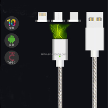 3 in 1 metal magnetic phone usb cable for iPhone and android smartphone