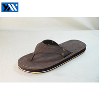 High quality PU leather flat slipper sandals for man