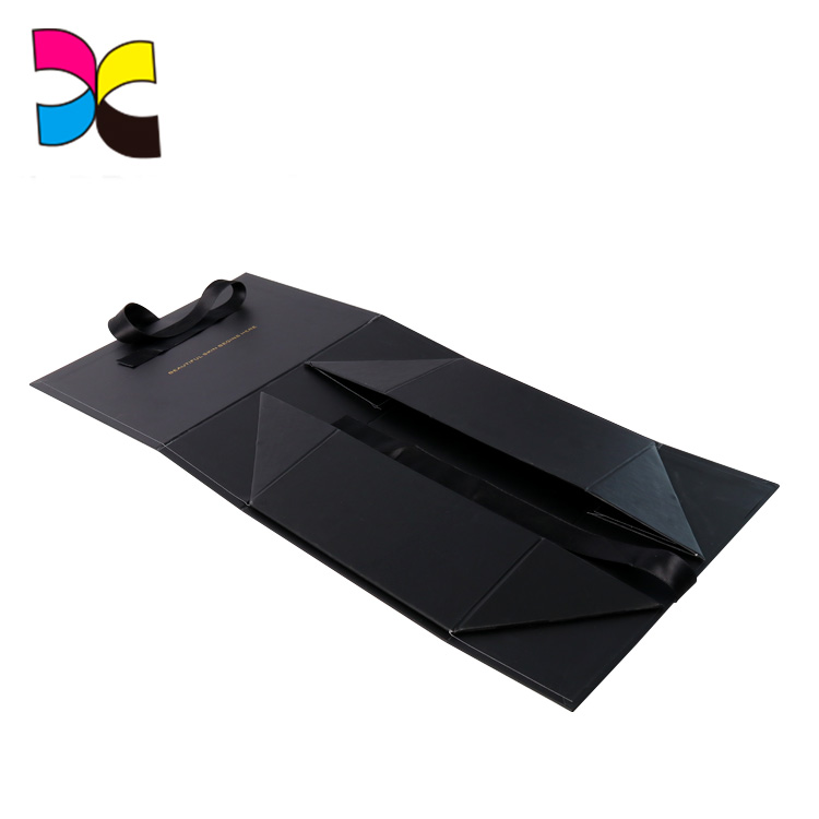 Guangzhou manufacturer OEM new products black ribbon golden foil LOGO black box packaging