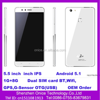 W10 OEM smartphone android mobile 4G 5.5 inch smartphone android 5.1OS quad core 2 sim card 1G+8G shenzhen mobile phone market