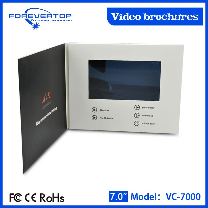 Artifical type new invitation card tft lcd screen sex video book