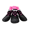 2015 Lanle hot sale pink and black dots pattern pet socks patent dog boots of prevent water dog paws socks