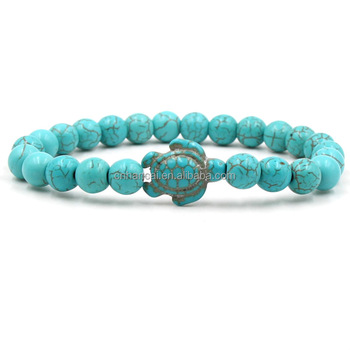 Summer Style Sea Turtle Beads Bracelets For Women Men Classic 3 colors Natural Stone Elastic Friendship Bracelet Beach Jewelry