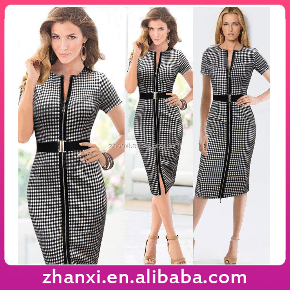 Wholesale modern zipper round collar short sleeve female office lady formal dresses with belt